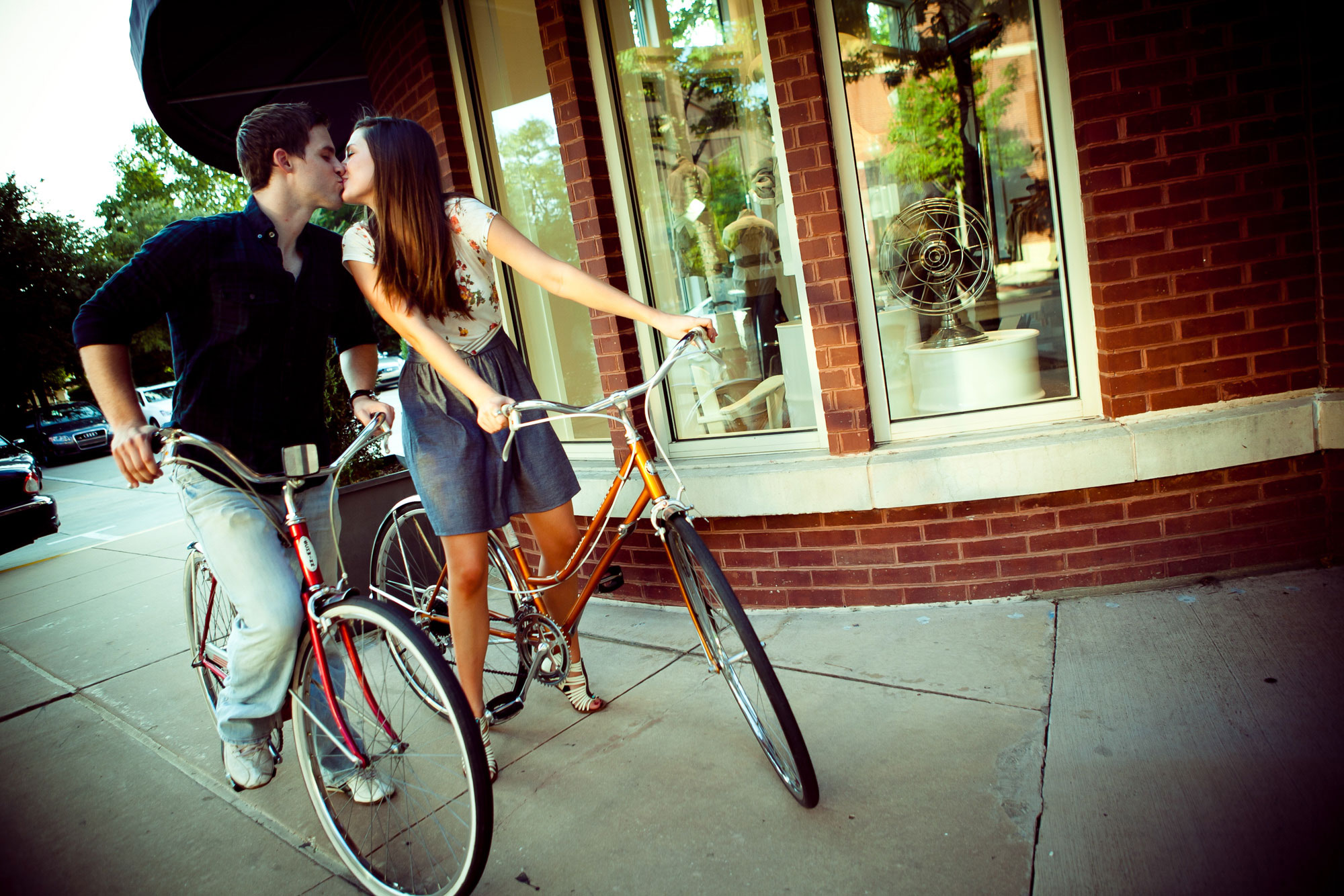 Engagement Photography Couple Riding Bicycles Uptown Dallas Texas