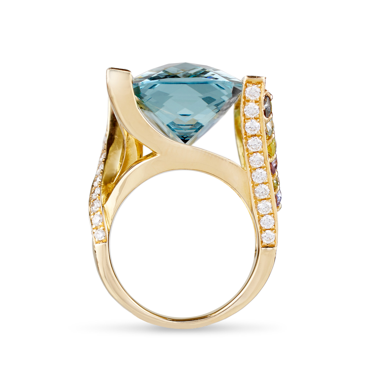 E Commerce Product Jewelry Photography on White Background Dallas Texas Aquamarine & Diamond Ring