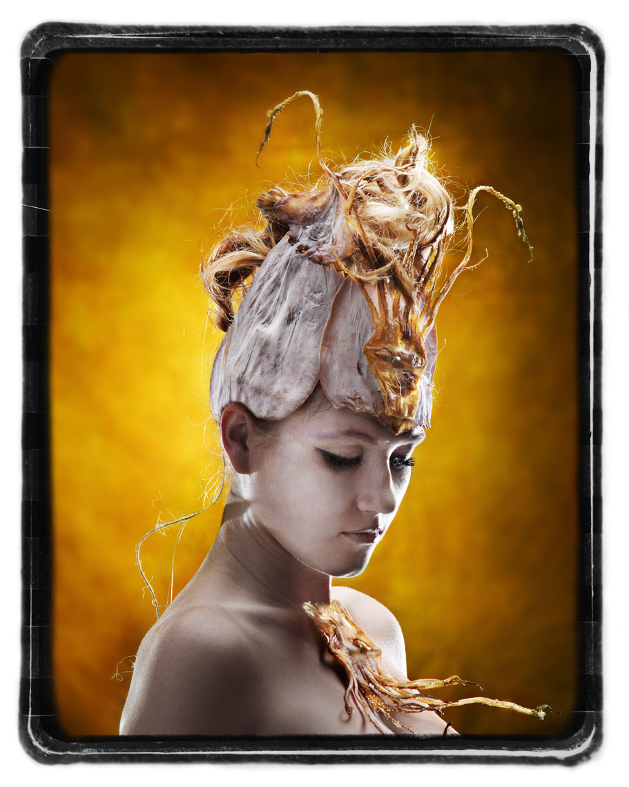 Portrait of woman with dried squid crown Dallas Texas