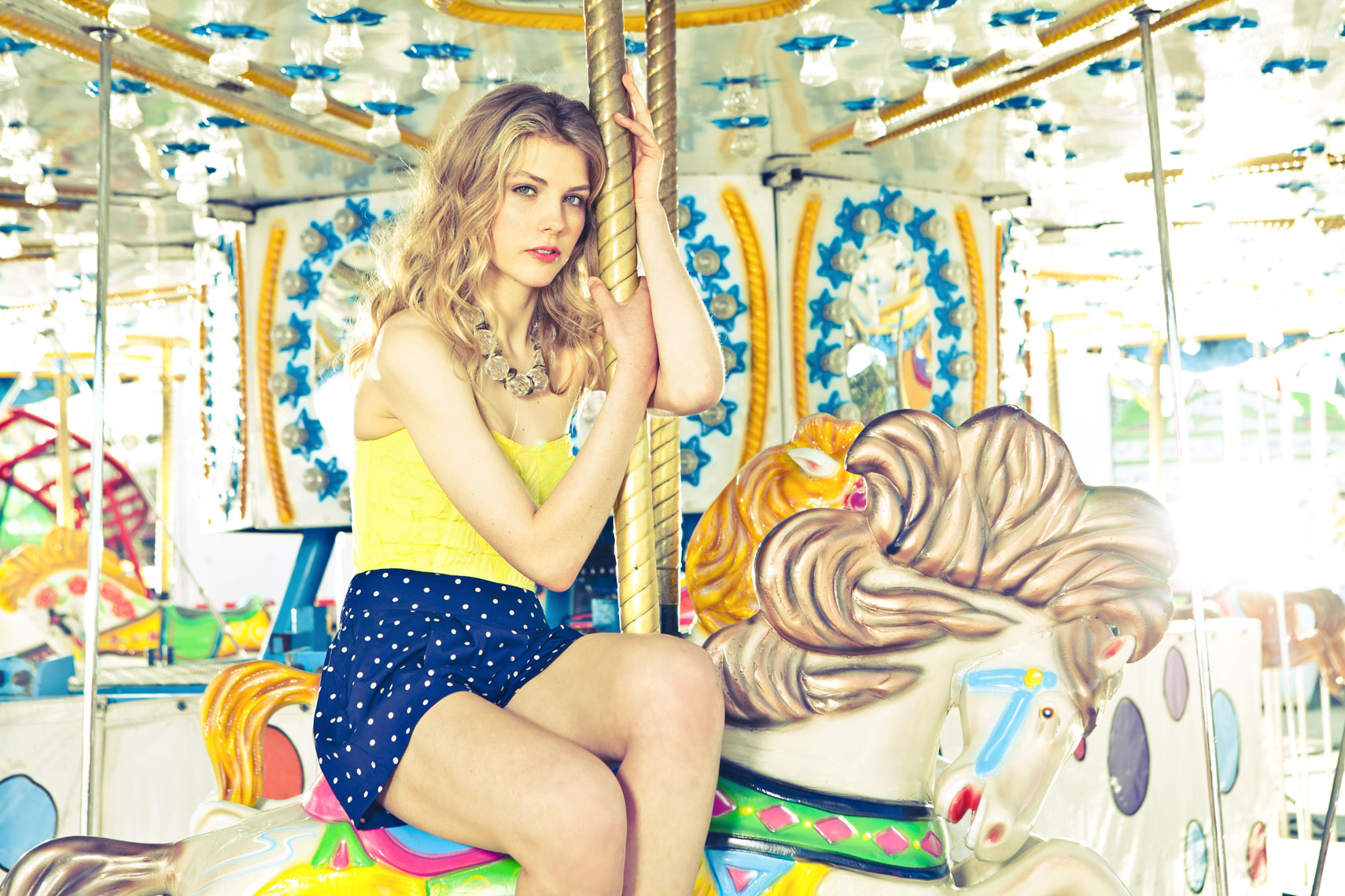 Fashion Editorial Story Photo Shoot at Carnival Carousel Ride Dallas Texas