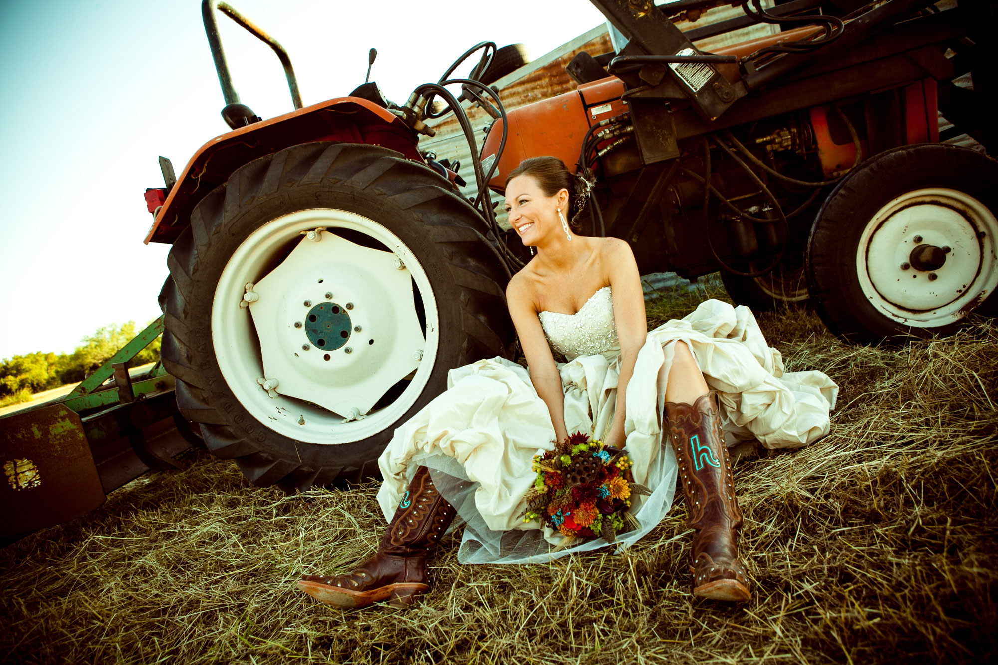 Bridal Portrait Dallas Texas Tractor