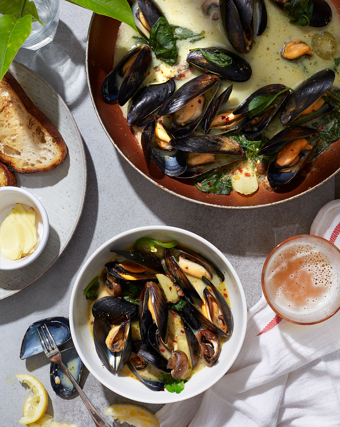 Food Photography Mussel Stew  in Dallas Texas