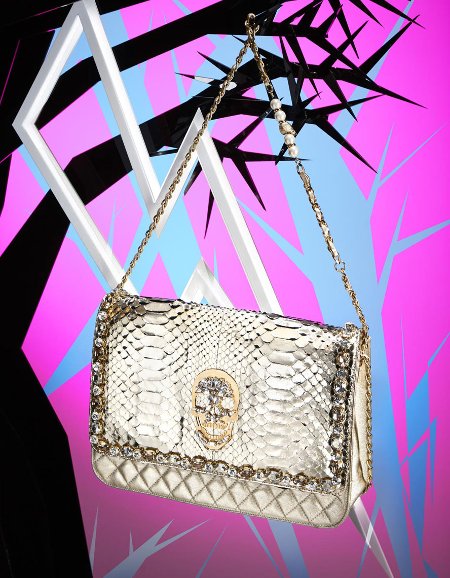 E Commerce Product Photography  Dallas Texas Philipp Plein Gold Hand Bag with Skull