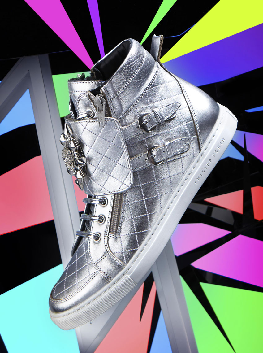 E Commerce Product Photography  Dallas Texas Philipp Plein Silver High Top