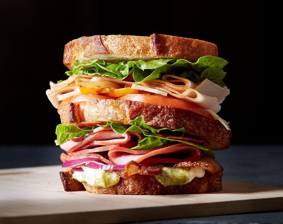 Food Photography in Dallas Texas Triple decker Sandwich
